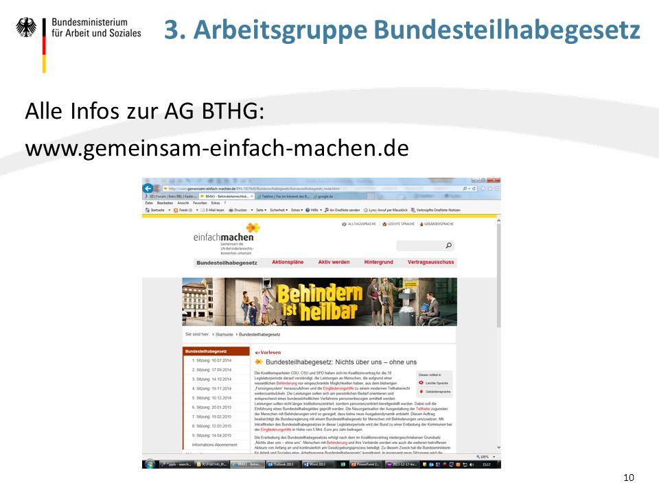 3. Arbeitsgruppe Bundesteilhabegesetz Alle Infos zur AG BTHG: www.gemeinsam-einfach-machen.de 10