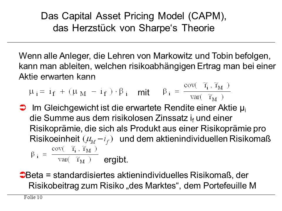 Folie 10 Das Capital Asset Pricing Model (CAPM), das Herzstück von Sharpe's Theorie Wenn alle Anleger, die Lehren von Markowitz und Tobin befolgen, ka