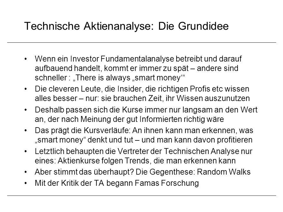 Technische Aktienanalyse: Die Grundidee Wenn ein Investor Fundamentalanalyse betreibt und darauf aufbauend handelt, kommt er immer zu spät – andere si