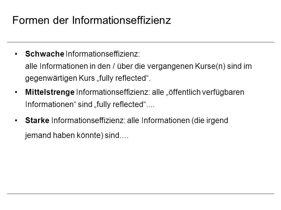 Formen der Informationseffizienz Schwache Informationseffizienz: alle Informationen in den / über die vergangenen Kurse(n) sind im gegenwärtigen Kurs