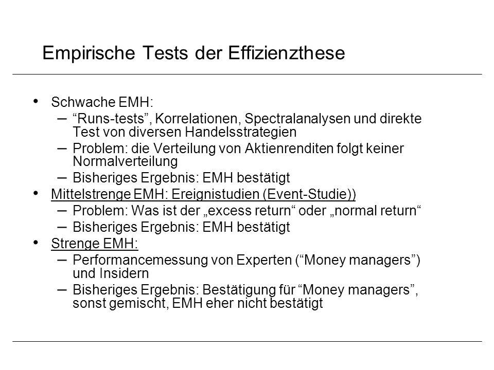 """Empirische Tests der Effizienzthese Schwache EMH: – """"Runs-tests"""", Korrelationen, Spectralanalysen und direkte Test von diversen Handelsstrategien – Pr"""