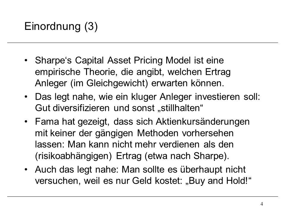 Einordnung (3) Sharpe's Capital Asset Pricing Model ist eine empirische Theorie, die angibt, welchen Ertrag Anleger (im Gleichgewicht) erwarten können