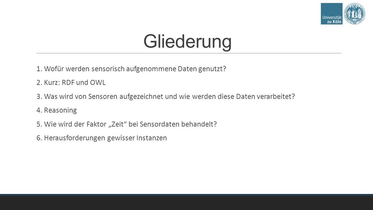 Gliederung 1. Wofür werden sensorisch aufgenommene Daten genutzt.