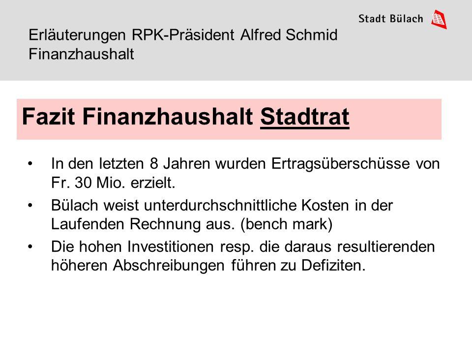 1. Oktober 201512 Erläuterungen RPK-Präsident Alfred Schmid Finanzhaushalt In den letzten 8 Jahren wurden Ertragsüberschüsse von Fr. 30 Mio. erzielt.