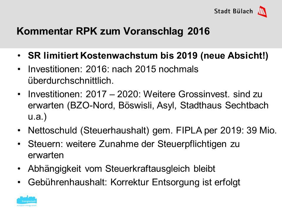 Kommentar RPK zum Voranschlag 2016 SR limitiert Kostenwachstum bis 2019 (neue Absicht!) Investitionen: 2016: nach 2015 nochmals überdurchschnittlich.