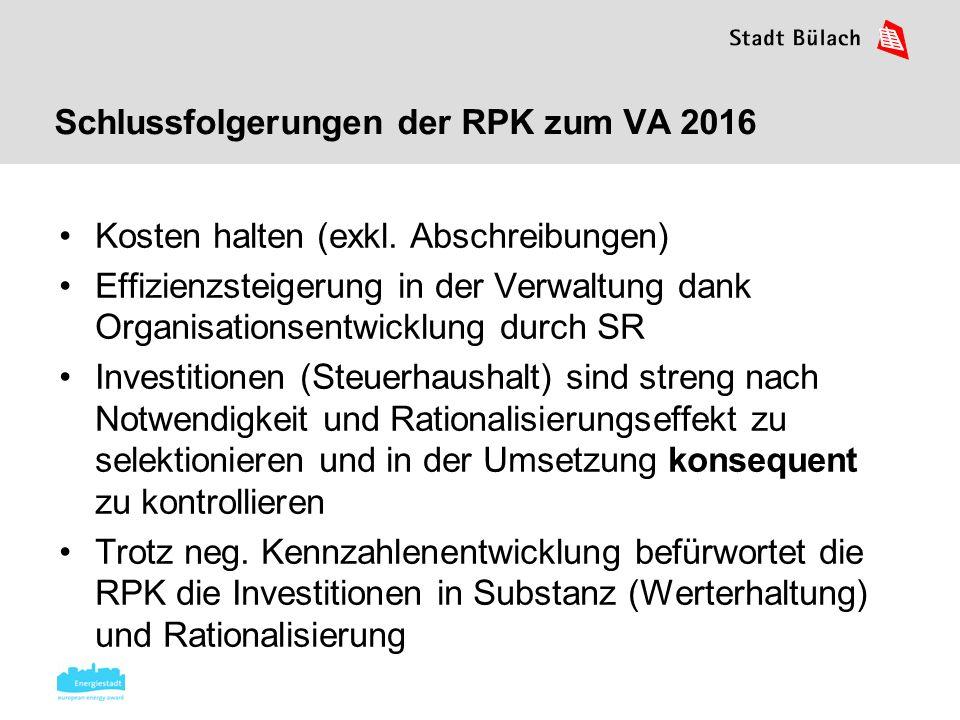 Schlussfolgerungen der RPK zum VA 2016 Kosten halten (exkl. Abschreibungen) Effizienzsteigerung in der Verwaltung dank Organisationsentwicklung durch