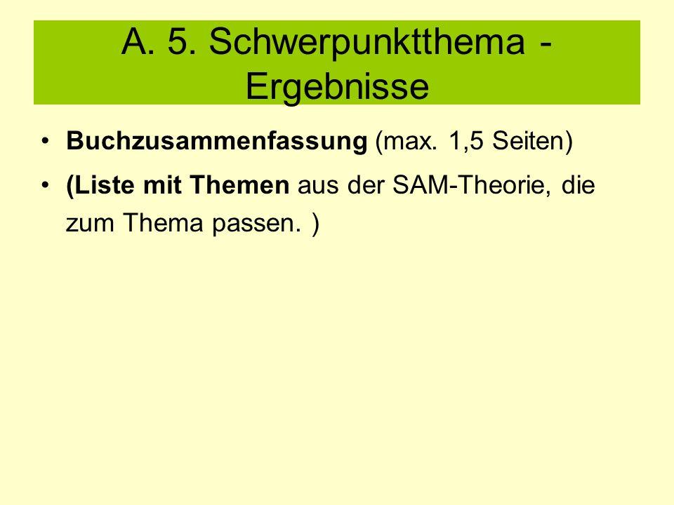 A. 5. Schwerpunktthema - Ergebnisse Buchzusammenfassung (max.