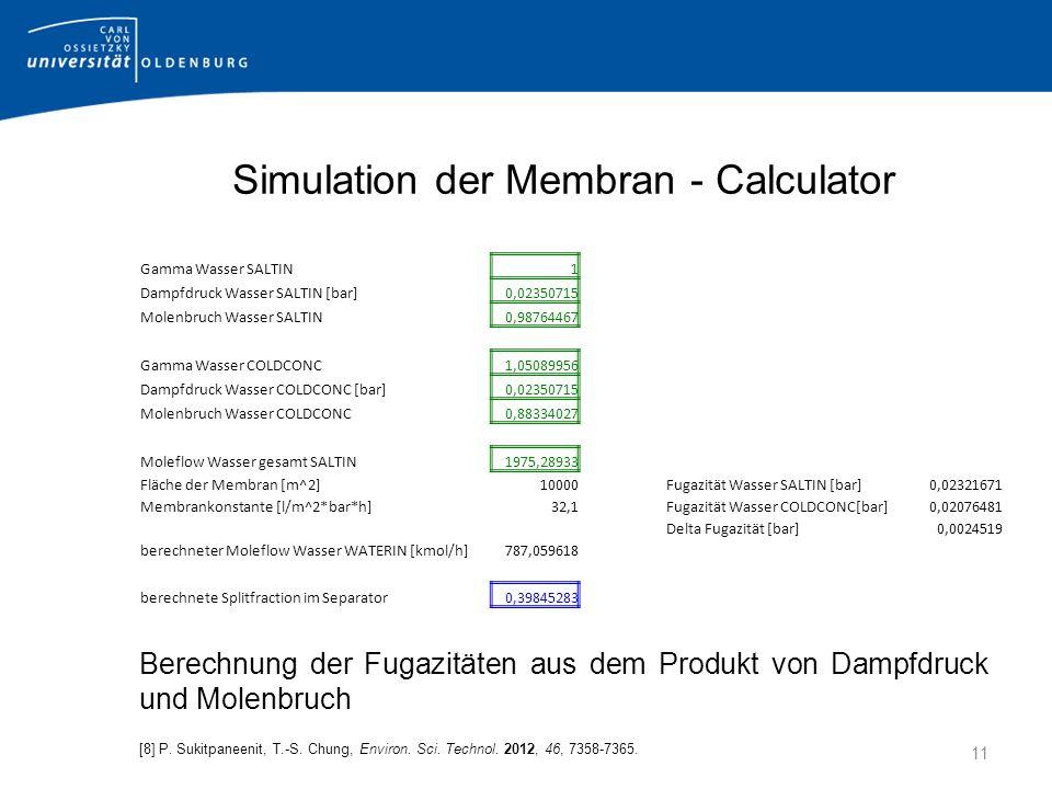 Simulation der Membran - Calculator Berechnung der Fugazitäten aus dem Produkt von Dampfdruck und Molenbruch [8] P.
