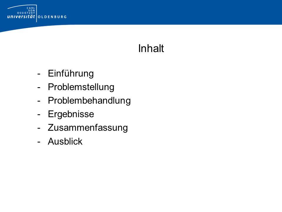 Inhalt -Einführung -Problemstellung -Problembehandlung -Ergebnisse -Zusammenfassung -Ausblick
