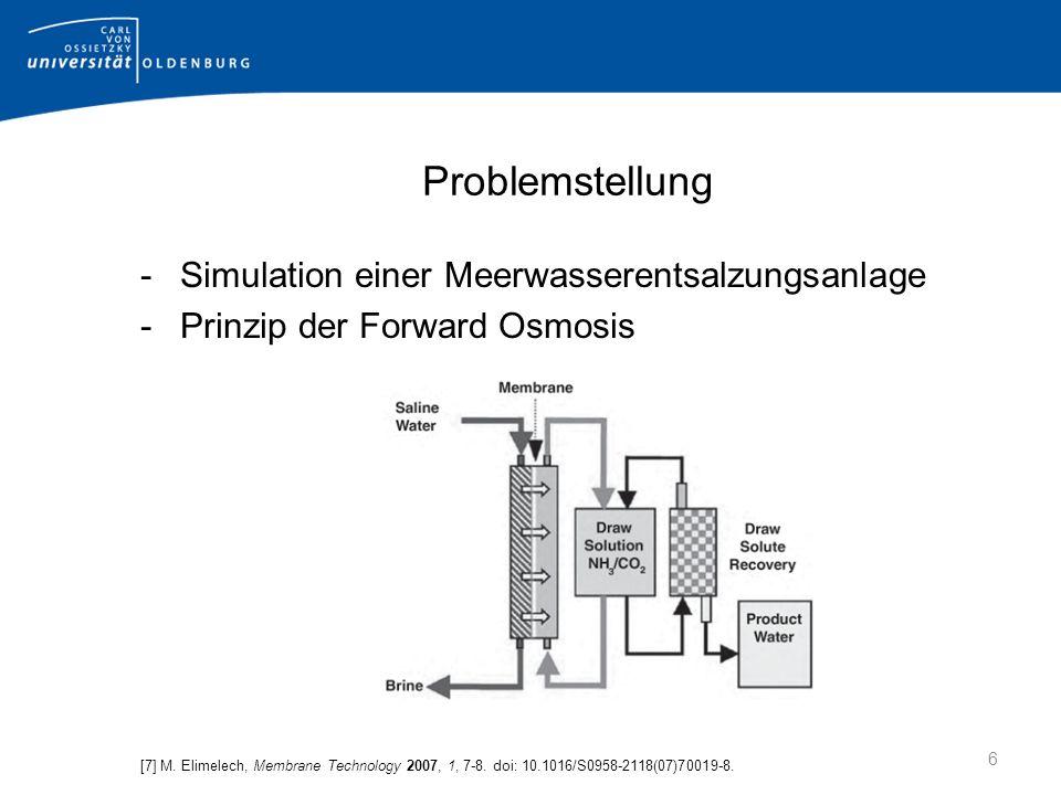Problemstellung -Simulation einer Meerwasserentsalzungsanlage -Prinzip der Forward Osmosis [7] M.