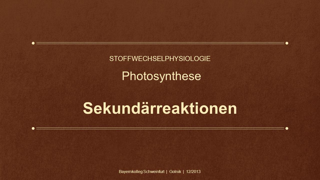 Sekundärreaktionen STOFFWECHSELPHYSIOLOGIE Photosynthese Bayernkolleg Schweinfurt | Golnik | 12/2013