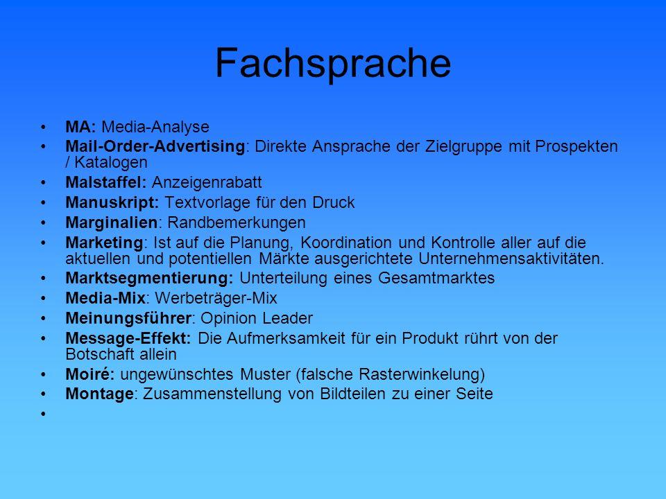 Fachsprache MA: Media-Analyse Mail-Order-Advertising: Direkte Ansprache der Zielgruppe mit Prospekten / Katalogen Malstaffel: Anzeigenrabatt Manuskrip