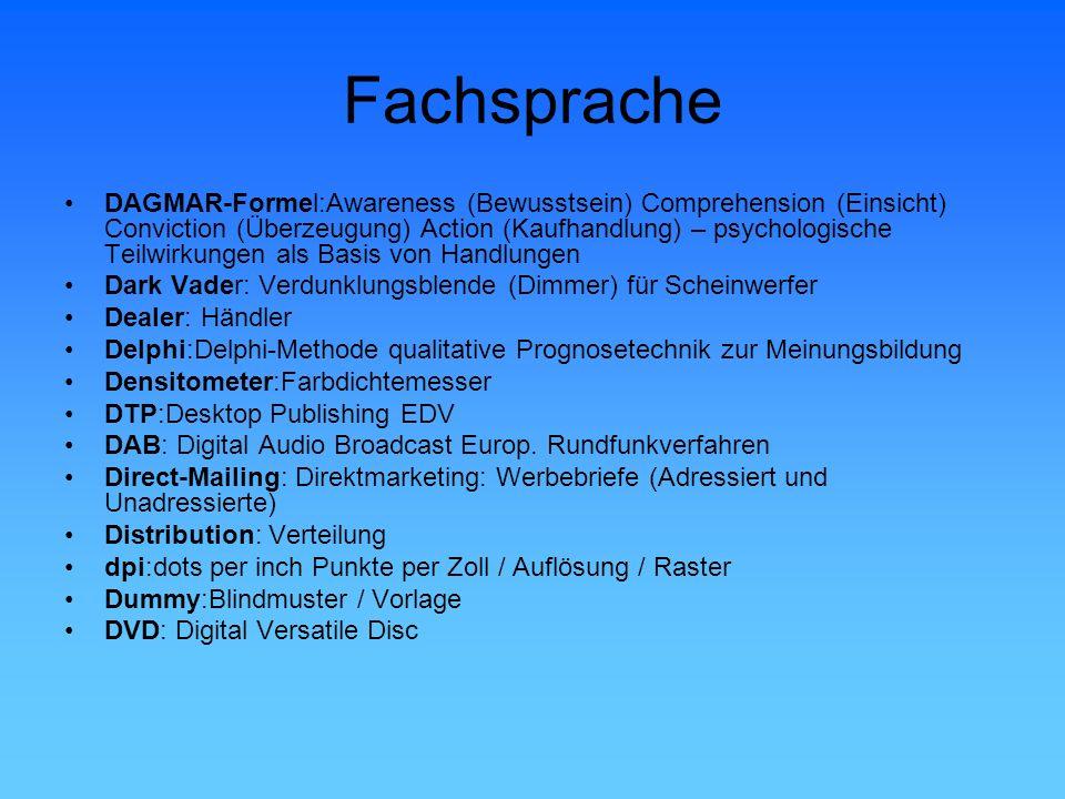 Fachsprache DAGMAR-Formel:Awareness (Bewusstsein) Comprehension (Einsicht) Conviction (Überzeugung) Action (Kaufhandlung) – psychologische Teilwirkung
