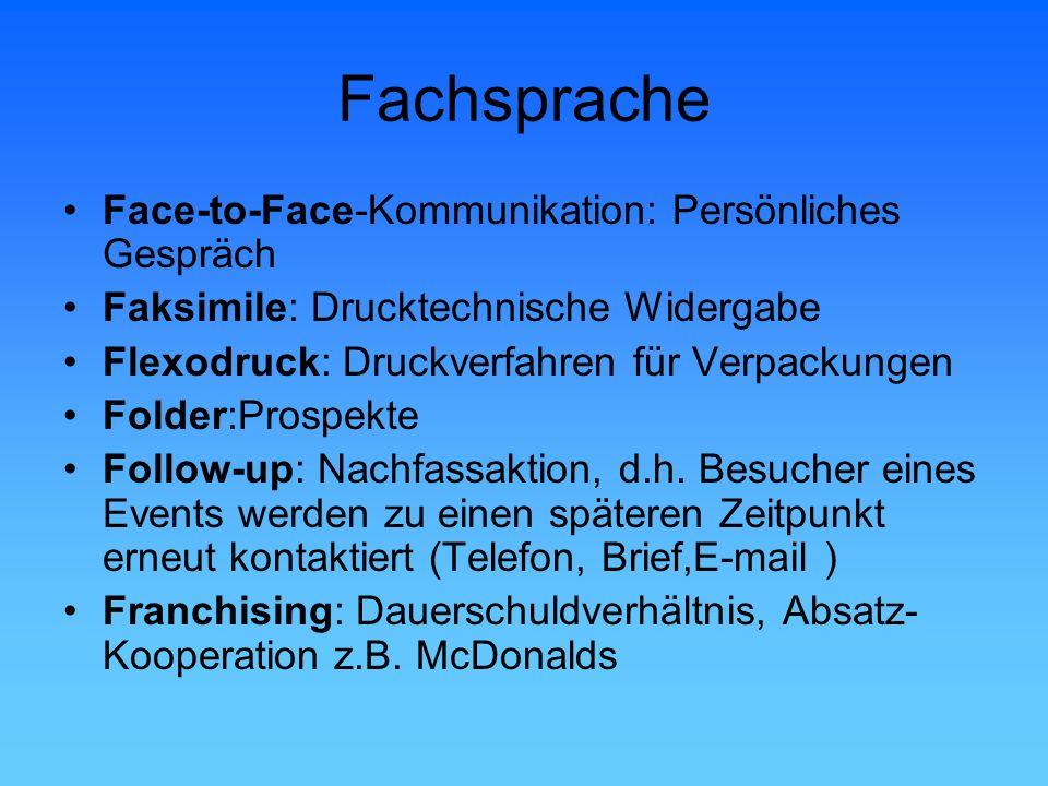 Fachsprache Face-to-Face-Kommunikation: Persönliches Gespräch Faksimile: Drucktechnische Widergabe Flexodruck: Druckverfahren für Verpackungen Folder: