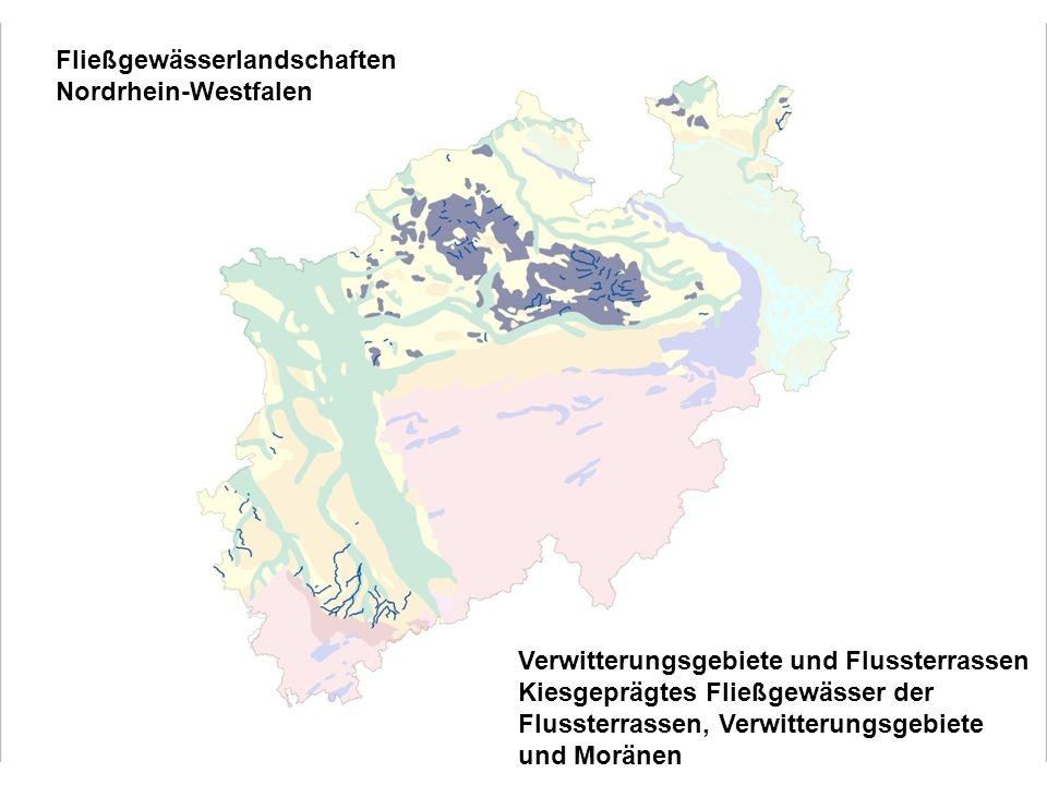 Fließgewässerlandschaften Nordrhein-Westfalen Verwitterungsgebiete und Flussterrassen Kiesgeprägtes Fließgewässer der Flussterrassen, Verwitterungsgebiete und Moränen