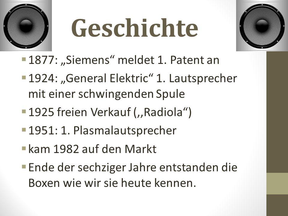 "Geschichte  1877: ""Siemens meldet 1. Patent an  1924: ""General Elektric 1."