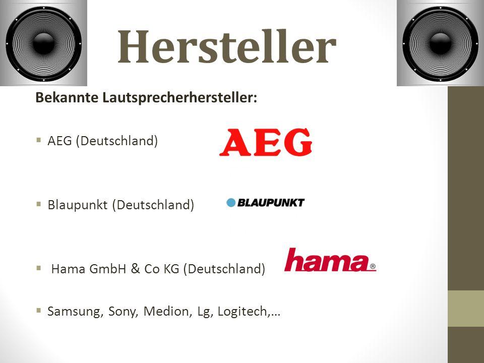 Hersteller Bekannte Lautsprecherhersteller:  AEG (Deutschland)  Blaupunkt (Deutschland)  Hama GmbH & Co KG (Deutschland)  Samsung, Sony, Medion, Lg, Logitech,…