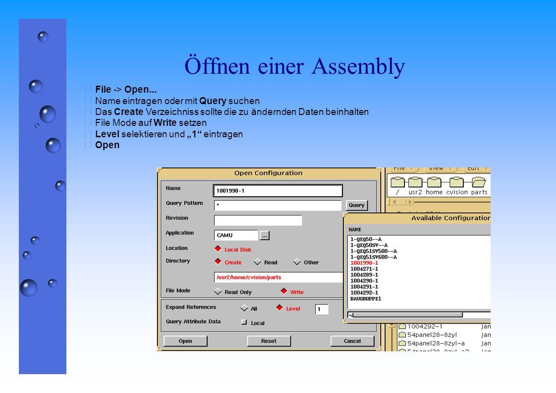 Öffnen einer Assembly  File -> Open...  Name eintragen oder mit Query suchen  Das Create Verzeichniss sollte die zu ändernden Daten beinhalten  Fi