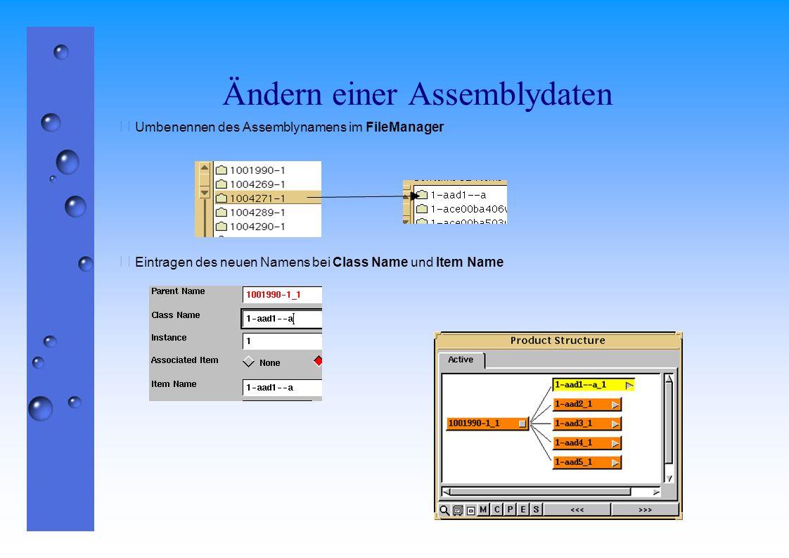 Ändern einer Assemblydaten  Umbenennen des Assemblynamens im FileManager  Eintragen des neuen Namens bei Class Name und Item Name