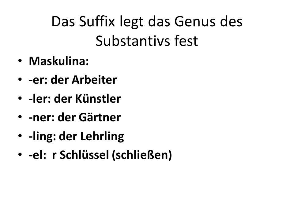 Das Suffix legt das Genus des Substantivs fest Maskulina: -er: der Arbeiter -ler: der Künstler -ner: der Gärtner -ling: der Lehrling -el: r Schlüssel