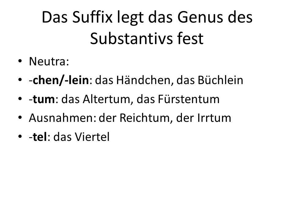 Das Suffix legt das Genus des Substantivs fest Neutra: -chen/-lein: das Händchen, das Büchlein -tum: das Altertum, das Fürstentum Ausnahmen: der Reich