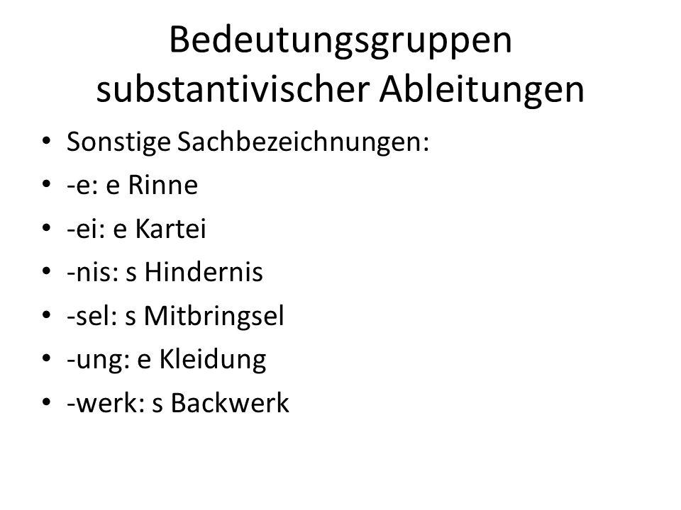 Bedeutungsgruppen substantivischer Ableitungen Sonstige Sachbezeichnungen: -e: e Rinne -ei: e Kartei -nis: s Hindernis -sel: s Mitbringsel -ung: e Kle