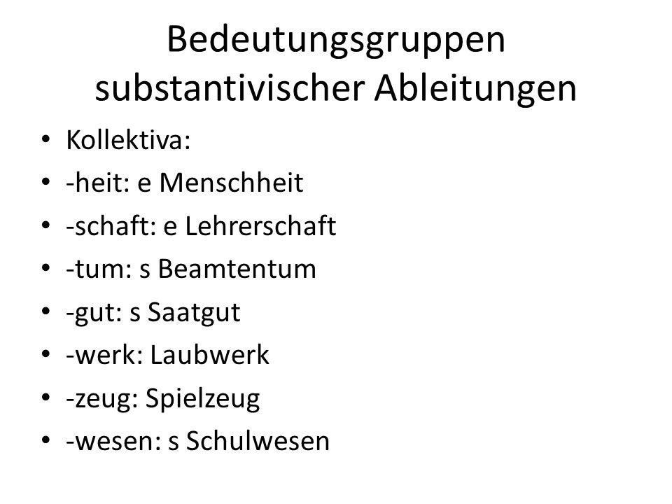 Bedeutungsgruppen substantivischer Ableitungen Kollektiva: -heit: e Menschheit -schaft: e Lehrerschaft -tum: s Beamtentum -gut: s Saatgut -werk: Laubw