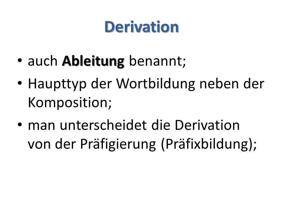Derivation Ableitung auch Ableitung benannt; Haupttyp der Wortbildung neben der Komposition; man unterscheidet die Derivation von der Präfigierung (Pr