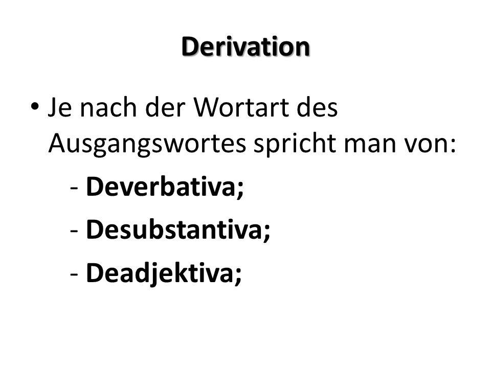 Derivation Suffixgruppen – inhaltliche Komponente: -heit, -keit, -schaft, -tum – bilden in der Regel Abstrakta; -er – Personenbezeichnungen (wie Lehrer – Nomen angentis) -chen, -lein – Verkleinerungsformen (Diminutiva)