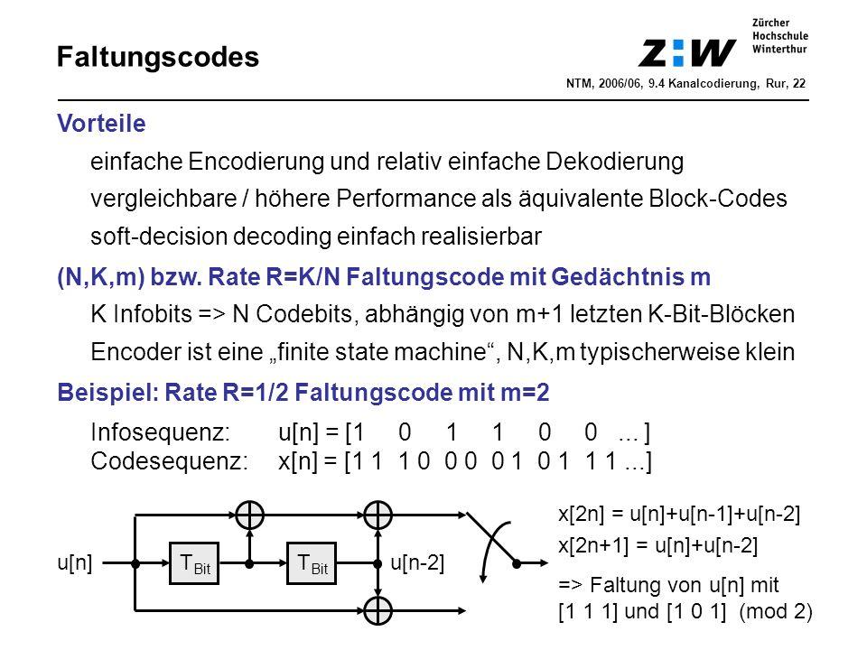 Anhang: Maximum-Likelihood-Metrik NTM, 2006/06, 9.4 Kanalcodierung, Rur, 33 Encoder u[n] x[n] y[n] AWGN z[n] Annahme: Quelle produziert alle möglichen 01-Folgen u[n] Annahme trifft gut zu, wenn die Quelle komprimiert ist ML-Dekoder dekodiert höchstwahrscheinliche Quellenfolge u e [n] bzw.