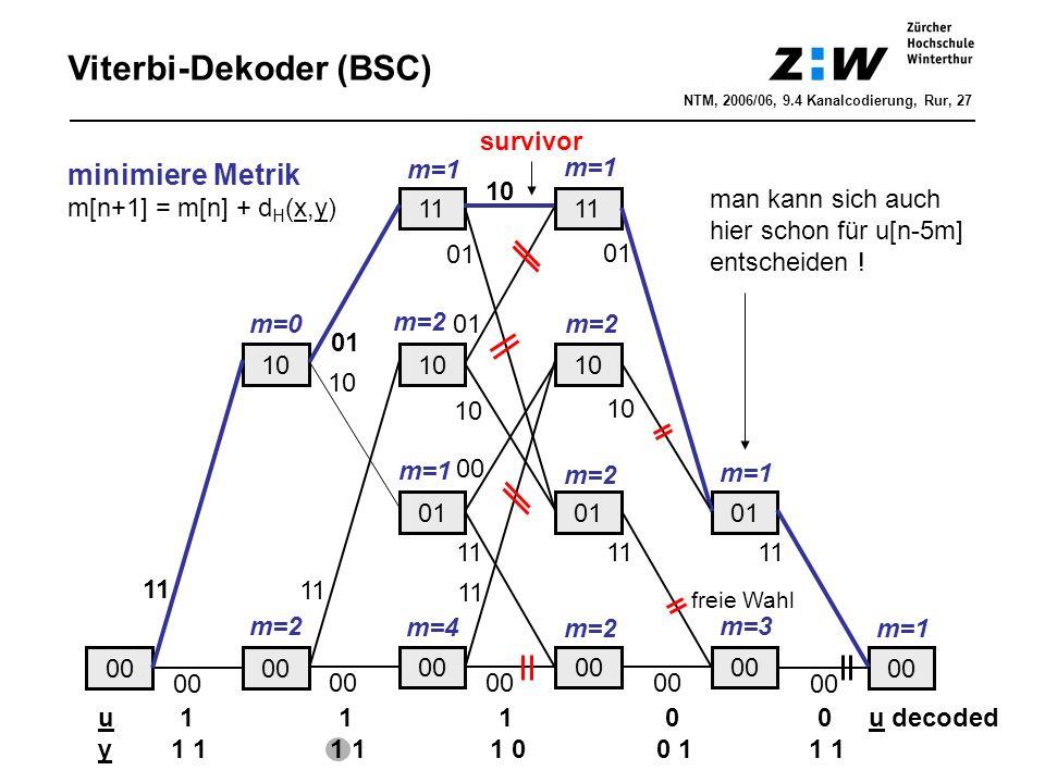 Viterbi-Dekoder (BSC) 00 10 11 00 11 00 01 10 11 01 10 11 01 10 11 01 10 00 11 01 11 01 10 u 1 1 1 0 0 u decoded y 1 1 1 1 1 0 0 1 1 1 m=0 m=2 m=1 m=2 m=4 m=1 m=2 m=1 m=3 freie Wahl m=1 minimiere Metrik m[n+1] = m[n] + d H (x,y) man kann sich auch hier schon für u[n-5m] entscheiden .
