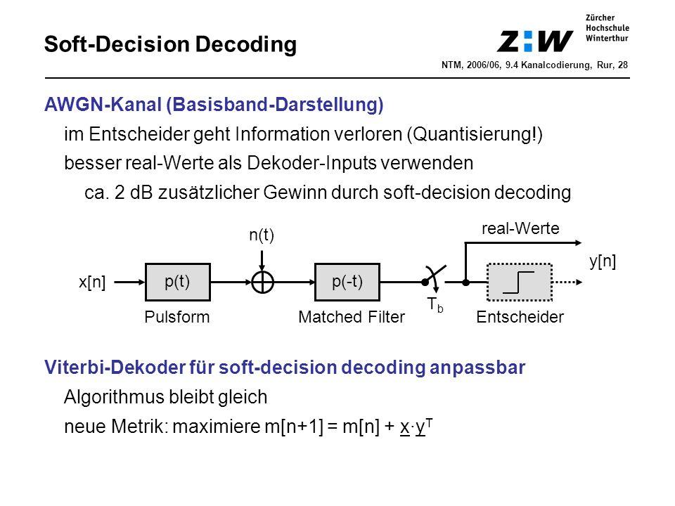 Soft-Decision Decoding AWGN-Kanal (Basisband-Darstellung) im Entscheider geht Information verloren (Quantisierung!) besser real-Werte als Dekoder-Inpu
