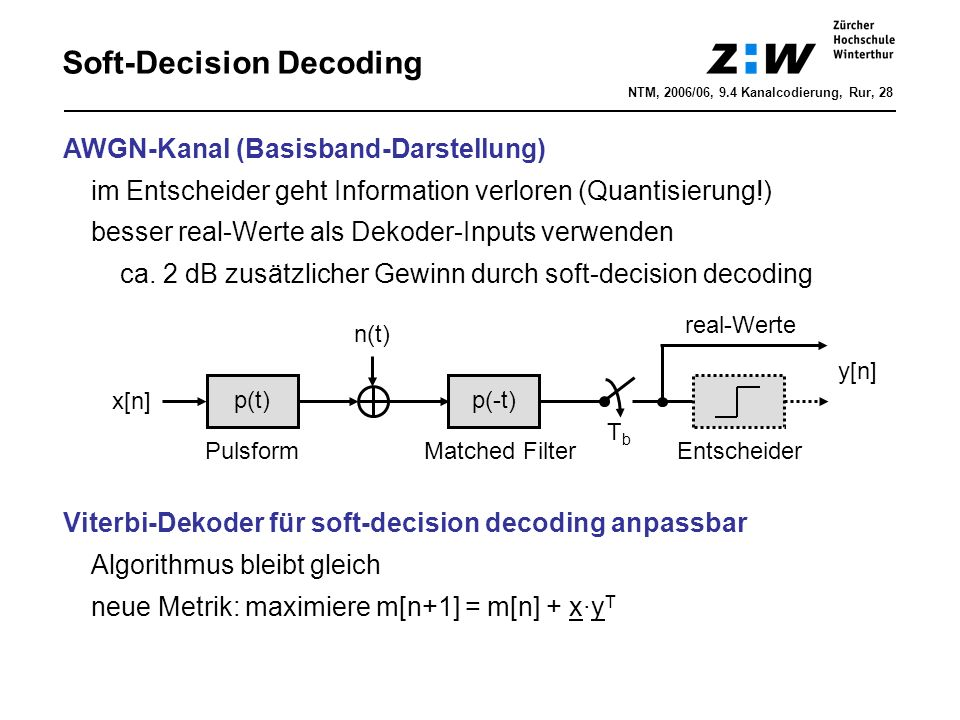 Soft-Decision Decoding 00 10 11 00 11 -1-1 00 11 00 11 00 11 00 11 01 10 -1-1 1-1 -11 11 01 10 -1-1 1-1 -11 11 -1-1 1-1 01 -1-1 1-1 -11 u 1 1 1 0 0 u decoded y -1.10 -1.40 1.05 -0.95 -1.25 1.25 1.25 -1.00 -0.90 -0.95 m=2.5 m=-2.5 m=4.5 m=-2.6 m=-2.4 m=0.5 m=7 m=0.5 m=2 m=0.5 m=9.25 m=1.75 m=11.10 maximiere Metrik m[n+1] = m[n] + x·y T NTM, 2006/06, 9.4 Kanalcodierung, Rur, 29