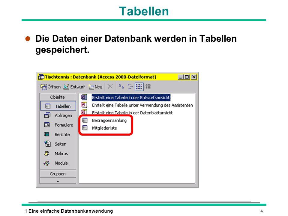 41 Eine einfache Datenbankanwendung Tabellen l Die Daten einer Datenbank werden in Tabellen gespeichert.