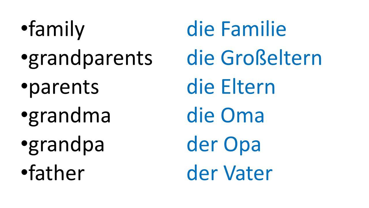 family die Familie grandparentsdie Großeltern parents die Eltern grandma die Oma grandpader Opa father der Vater
