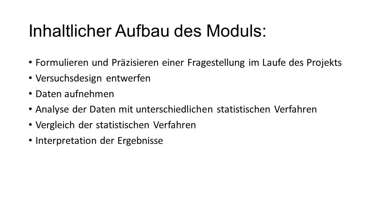 Inhaltlicher Aufbau des Moduls: Formulieren und Präzisieren einer Fragestellung im Laufe des Projekts Versuchsdesign entwerfen Daten aufnehmen Analyse der Daten mit unterschiedlichen statistischen Verfahren Vergleich der statistischen Verfahren Interpretation der Ergebnisse