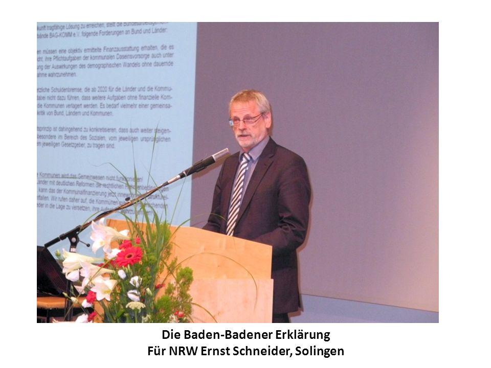 Die Baden-Badener Erklärung Für NRW Ernst Schneider, Solingen