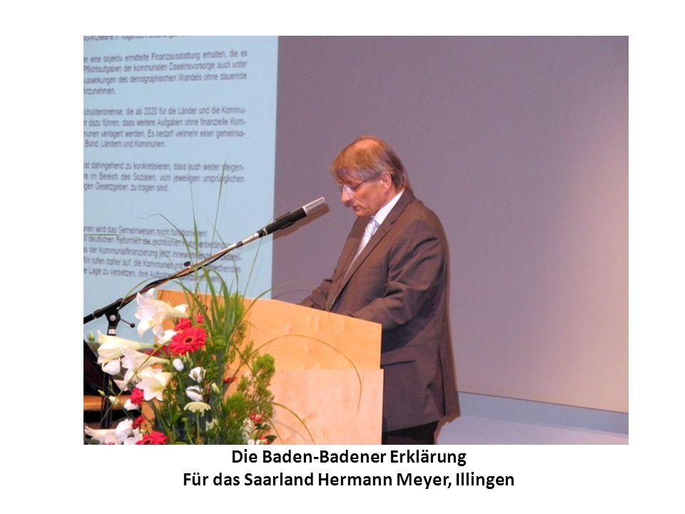 Die Baden-Badener Erklärung Für das Saarland Hermann Meyer, Illingen