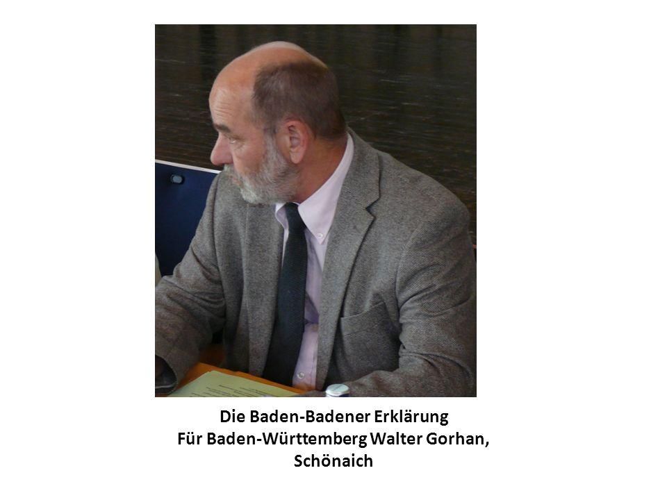 Die Baden-Badener Erklärung Für Baden-Württemberg Walter Gorhan, Schönaich