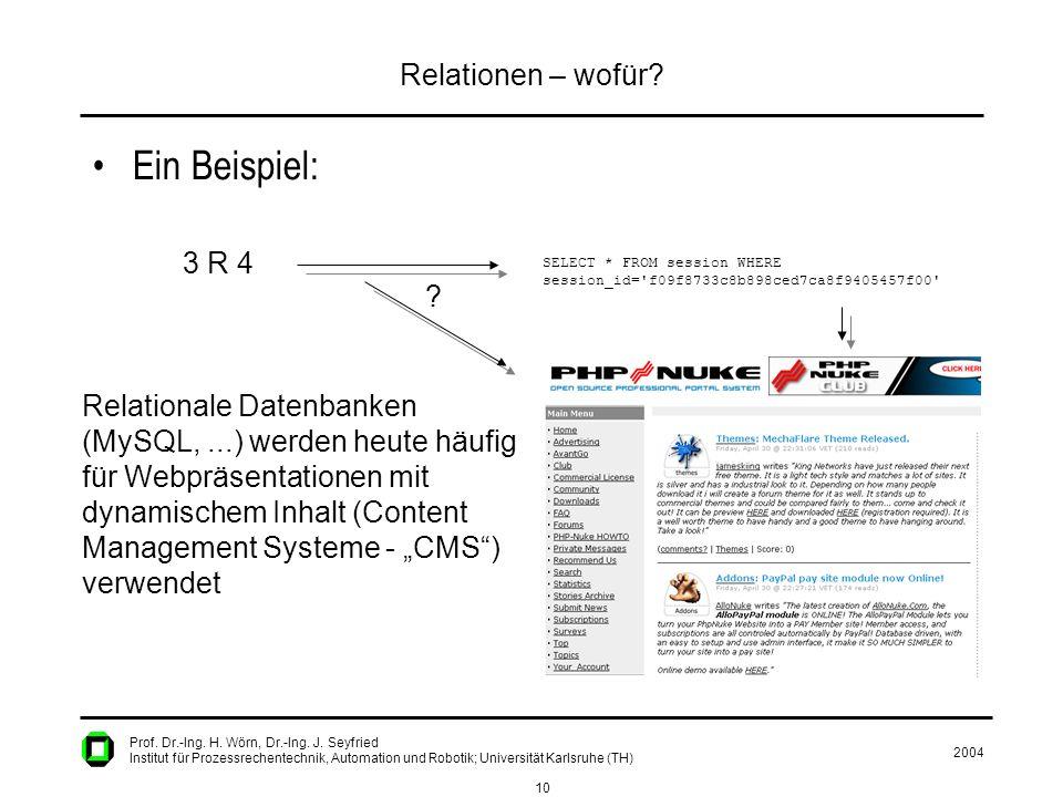 2004 10 Prof. Dr.-Ing. H. Wörn, Dr.-Ing. J. Seyfried Institut für Prozessrechentechnik, Automation und Robotik; Universität Karlsruhe (TH) Relationen