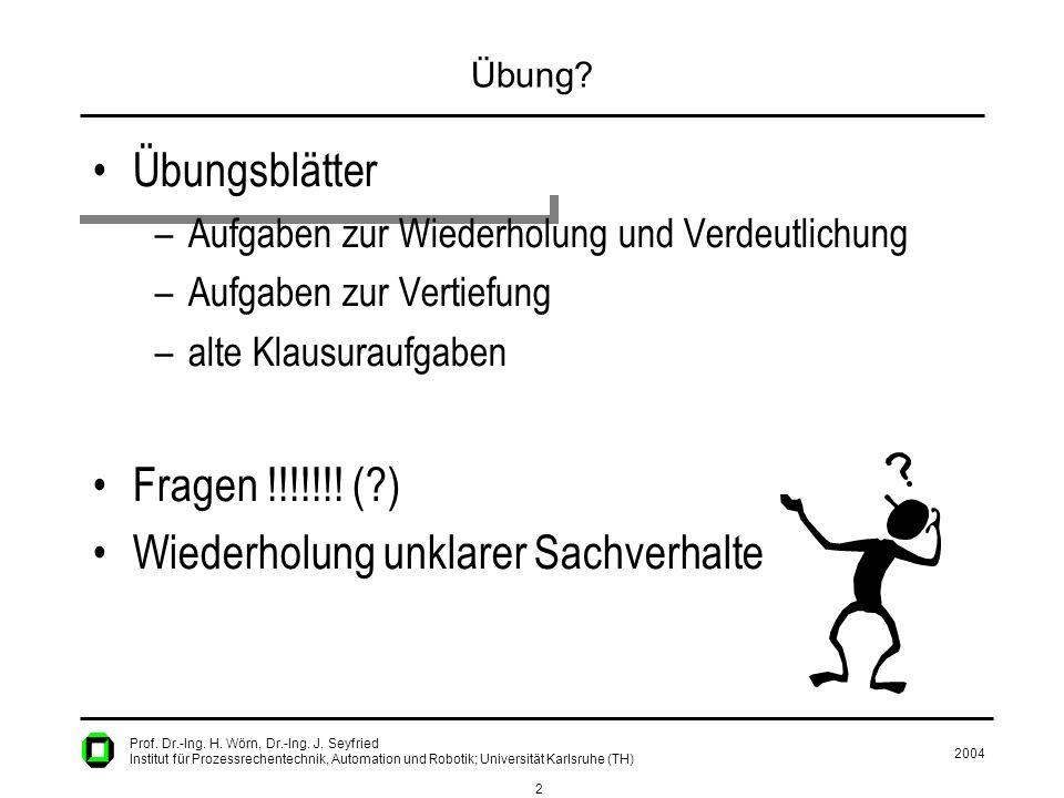 2004 2 Prof. Dr.-Ing. H. Wörn, Dr.-Ing. J. Seyfried Institut für Prozessrechentechnik, Automation und Robotik; Universität Karlsruhe (TH) Übung? Übung
