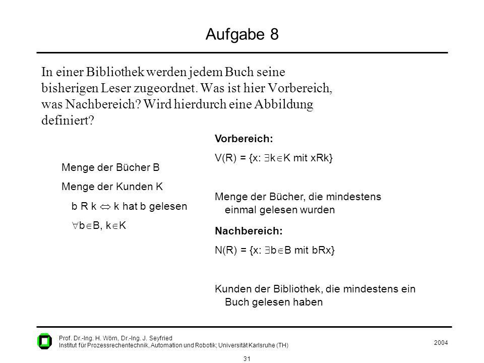 2004 31 Prof. Dr.-Ing. H. Wörn, Dr.-Ing. J. Seyfried Institut für Prozessrechentechnik, Automation und Robotik; Universität Karlsruhe (TH) Aufgabe 8 I
