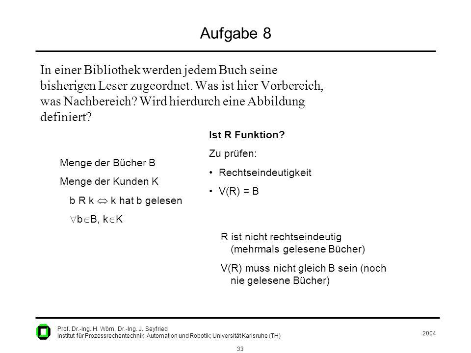 2004 33 Prof. Dr.-Ing. H. Wörn, Dr.-Ing. J. Seyfried Institut für Prozessrechentechnik, Automation und Robotik; Universität Karlsruhe (TH) Aufgabe 8 I