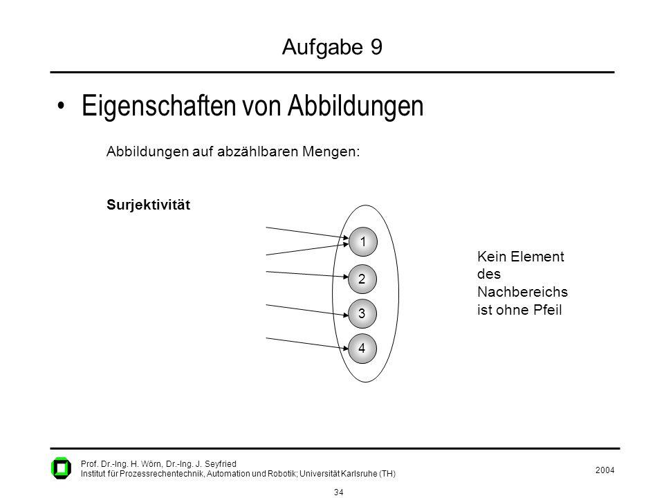 2004 34 Prof. Dr.-Ing. H. Wörn, Dr.-Ing. J. Seyfried Institut für Prozessrechentechnik, Automation und Robotik; Universität Karlsruhe (TH) Aufgabe 9 E