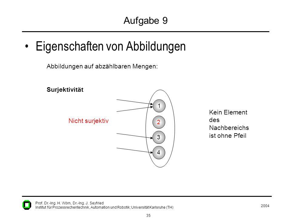 2004 35 Prof. Dr.-Ing. H. Wörn, Dr.-Ing. J. Seyfried Institut für Prozessrechentechnik, Automation und Robotik; Universität Karlsruhe (TH) Aufgabe 9 E