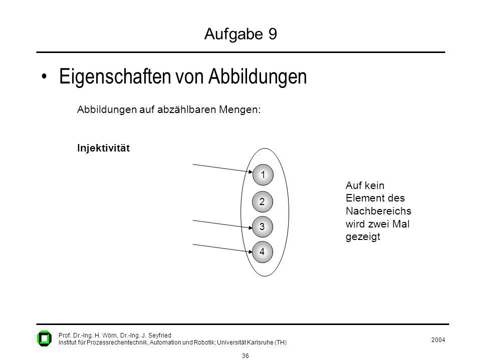 2004 36 Prof. Dr.-Ing. H. Wörn, Dr.-Ing. J. Seyfried Institut für Prozessrechentechnik, Automation und Robotik; Universität Karlsruhe (TH) Aufgabe 9 E