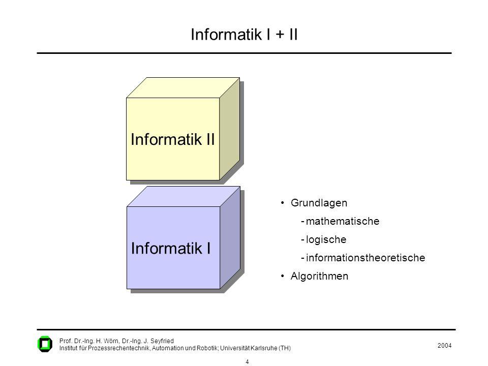 2004 4 Prof. Dr.-Ing. H. Wörn, Dr.-Ing. J. Seyfried Institut für Prozessrechentechnik, Automation und Robotik; Universität Karlsruhe (TH) Informatik I