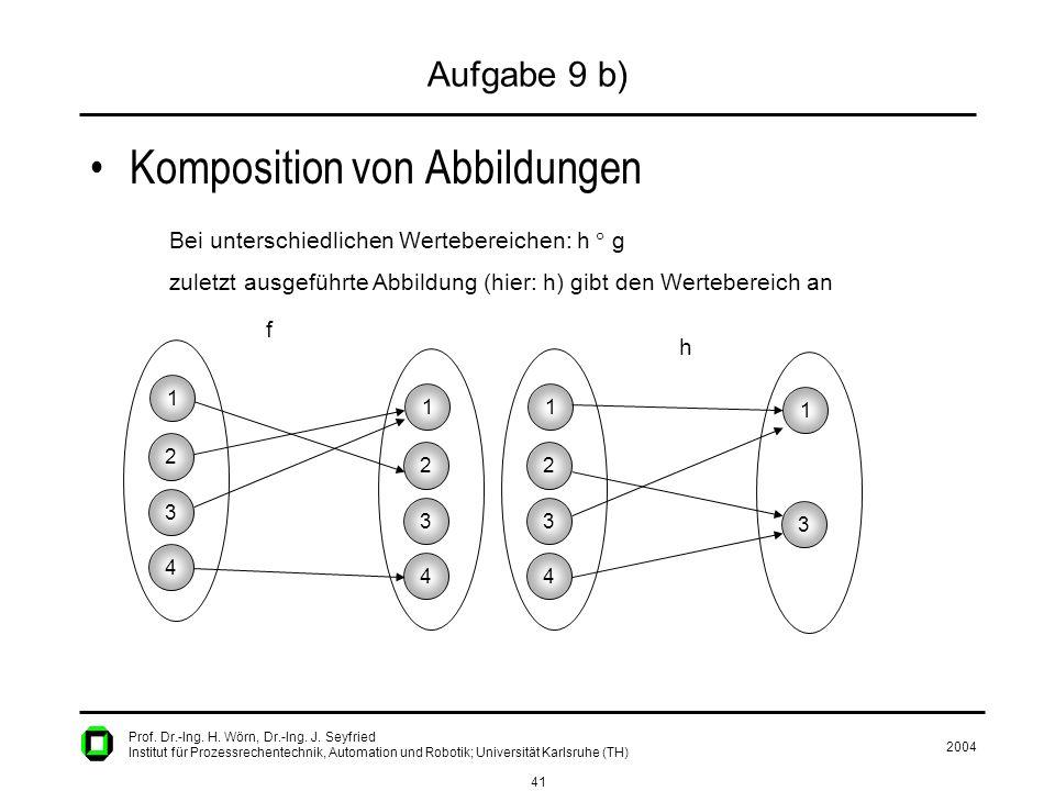 2004 41 Prof. Dr.-Ing. H. Wörn, Dr.-Ing. J. Seyfried Institut für Prozessrechentechnik, Automation und Robotik; Universität Karlsruhe (TH) Aufgabe 9 b