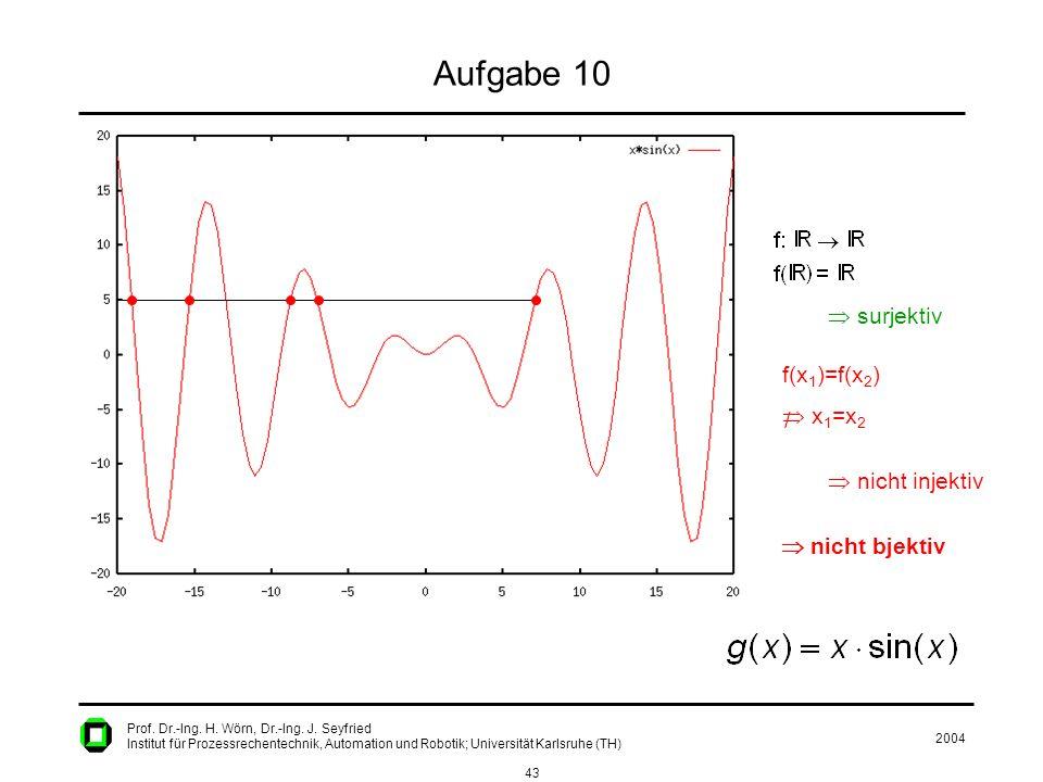 2004 43 Prof. Dr.-Ing. H. Wörn, Dr.-Ing. J. Seyfried Institut für Prozessrechentechnik, Automation und Robotik; Universität Karlsruhe (TH) Aufgabe 10