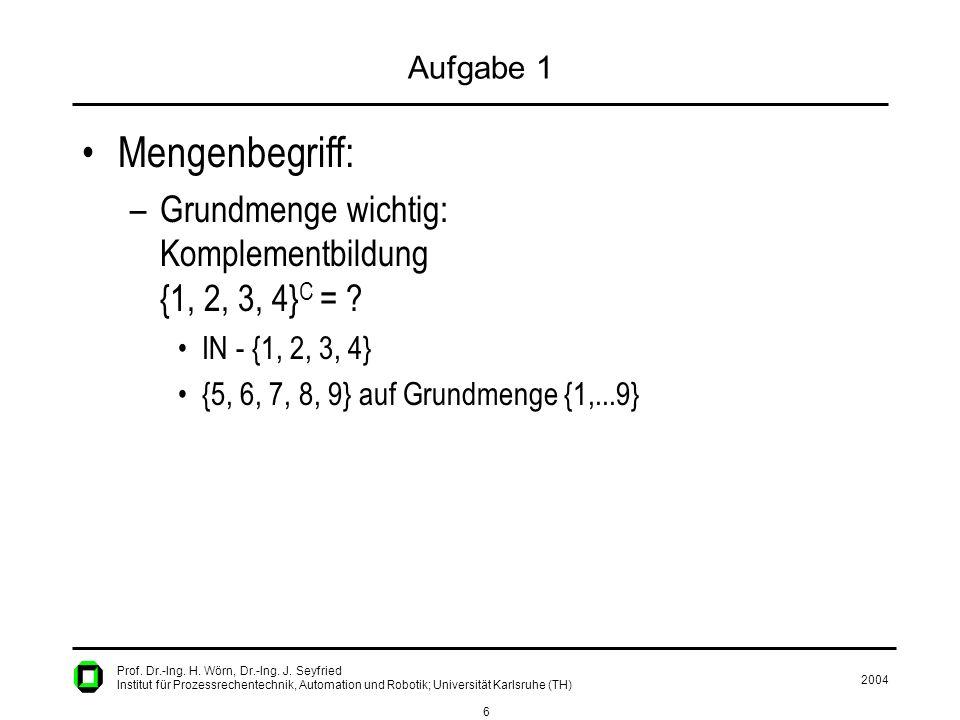 2004 6 Prof. Dr.-Ing. H. Wörn, Dr.-Ing. J. Seyfried Institut für Prozessrechentechnik, Automation und Robotik; Universität Karlsruhe (TH) Aufgabe 1 Me